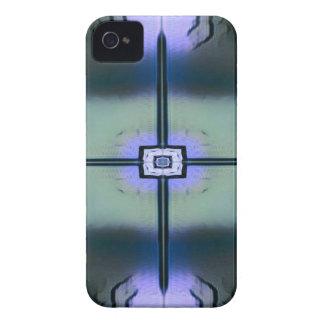 Coque iPhone 4 Motif symétrique moderne noir vert de lavande