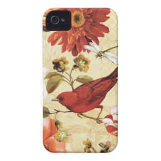 Coque iPhone 4 Oiseau rouge dans un jardin d'agrément
