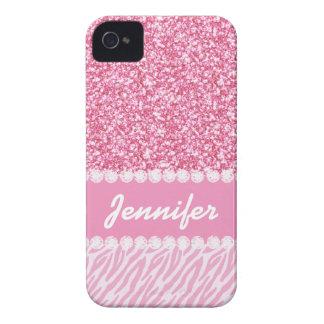 Coque iPhone 4 Parties scintillantes Girly et roses, rayures de
