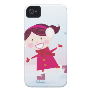 Coque iPhone 4 Patinage de glace peu de rouge d'enfant