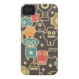 Coque iPhone 4 Robots sur le brun