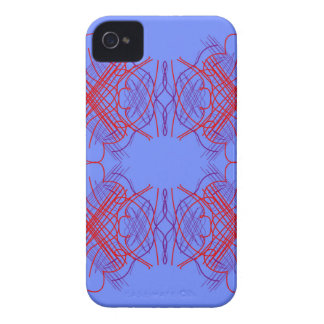 Coque iPhone 4 Rouge bleu de mandala de conception