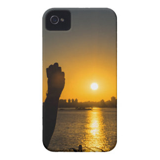 Coque iPhone 4 Scène de paysage urbain de coucher du soleil,