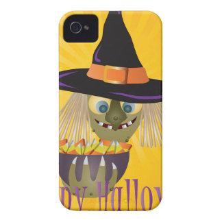 Coque iPhone 4 Sorcière heureuse de Halloween avec le bol de la