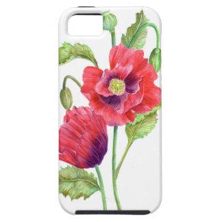 Coque iPhone 5 Art floral de pavots rouges