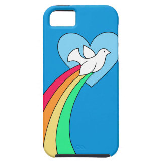 Coque iPhone 5 Cas de téléphone de colombe de coeur d'arc-en-ciel