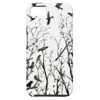 Coque iPhone 5 Case-Mate Corneilles d'aquarelle en bois au noir de nuit