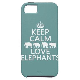 Coque iPhone 5 Case-Mate Gardez le calme et aimez les éléphants (les
