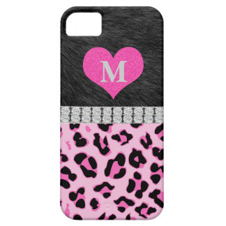 Coque iPhone 5 Case-Mate Monogramme, empreinte de léopard rose, cas de