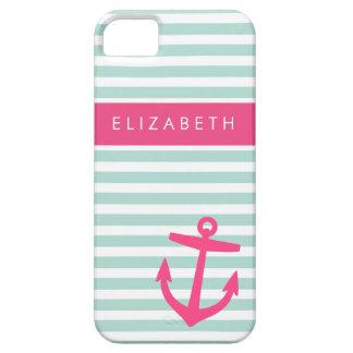Coque iPhone 5 Case-Mate Monogramme mignon d'ancre de rayures nautiques de
