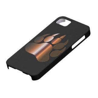 COQUE iPhone 5 Case-Mate PATTE D'OURS EN ACIER DE BROWN SUR LE NOIR - CAS