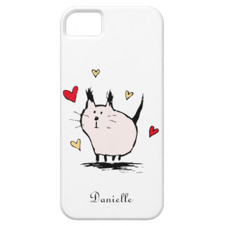 Coque iPhone 5 Case-Mate Peu de cas rose de l'iPhone 5 de chat d'amour