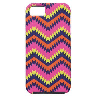 Coque iPhone 5 Case-Mate Rose orange de motif tribal au néon chaud de