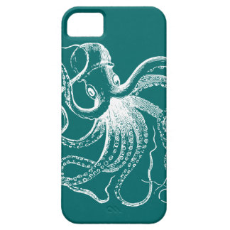 Coque iPhone 5 Case-Mate Teal foncé et illustration vintage blanche de