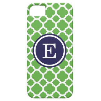 Coque iPhone 5 Case-Mate Vert et monogramme de coutume de Quatrefoil de