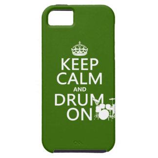 Coque iPhone 5 Gardez le calme et battez du tambour sur (toute