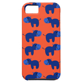 Coque iPhone 5 HIPPOPOTAMES de conception, conception bleue