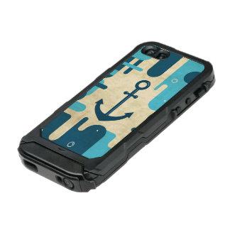 Coque iPhone 5 Incipio ATLAS ID™ Conception nautique blanche d'ancre avec la corde