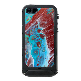 Coque iPhone 5 Incipio ATLAS ID™ Teal et l'acrylique d'en cuivre versent l'art