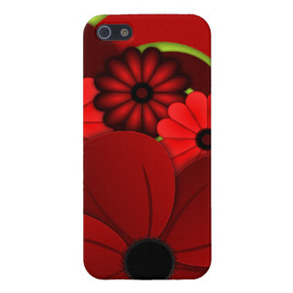 Coque iPhone 5 iPhone floral de ketmie rouge 5 brillants
