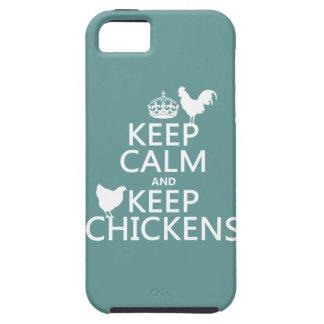 Coque iPhone 5 Maintenez calme et gardez les poulets (toute