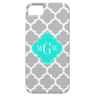 Coque iPhone 5 Monogramme initial de l'Aqua #5 3 de blanc gris
