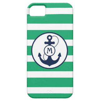 Coque iPhone 5 Monogramme nautique vert d'ancre