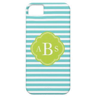 Coque iPhone 5 Turquoise et monogramme maigre de coutume de