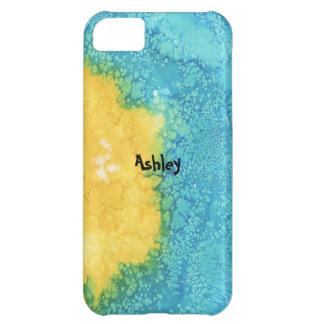 Coque iPhone 5C Aquarelle bleue/jaune
