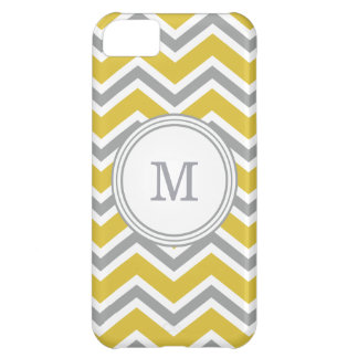 Coque iPhone 5C Caisse grise et jaune de l'iPhone 5C de Chevron de