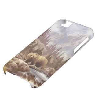 Coque iPhone 5C Cas de l'iPhone 5C de paysage d'ours gris