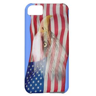 Coque iPhone 5C Esprit d'Eagle chauve et cas patriotique de téléph