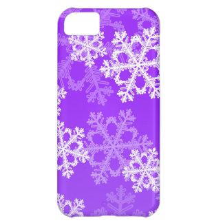 Coque iPhone 5C Flocons de neige mignons de Noël pourpre et blanc