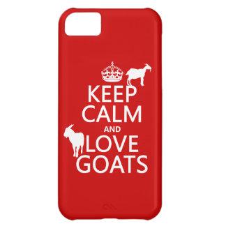 Coque iPhone 5C Gardez le calme et aimez les chèvres