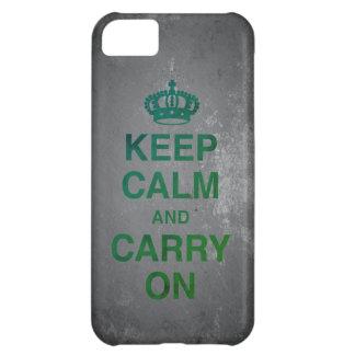 Coque iPhone 5C GARDEZ le CALME ET CONTINUEZ/ardoise