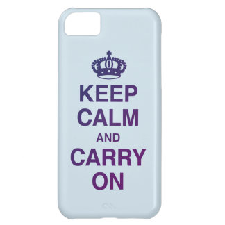 Coque iPhone 5C GARDEZ LE CALME ET CONTINUEZ le bleu