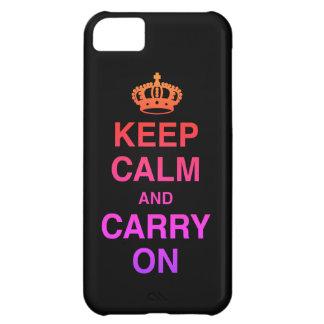 Coque iPhone 5C GARDEZ le CALME ET CONTINUEZ/noir