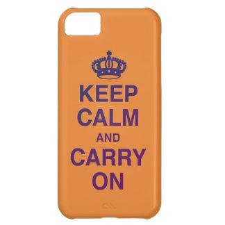 Coque iPhone 5C GARDEZ le CALME ET CONTINUEZ (orange/pourpre)