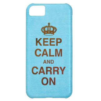 Coque iPhone 5C GARDEZ le CALME ET CONTINUEZ/texture bleu