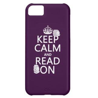 Coque iPhone 5C Gardez le calme et lisez sur (dans toute couleur)