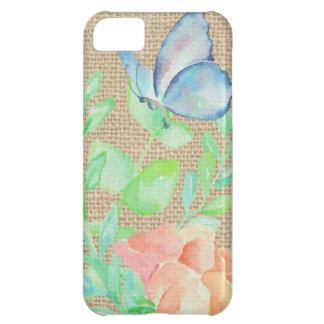 Coque iPhone 5C Imaginaire de toile de jute de fleurs et de