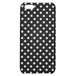 Coque iPhone 5C Motif de point noir et blanc de polka