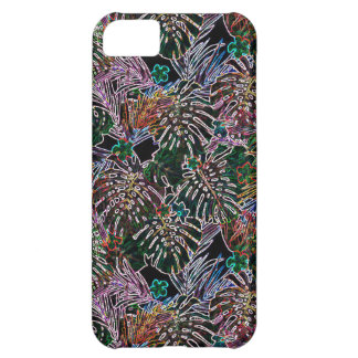 Coque iPhone 5C NÉON tropical de motif de fleur