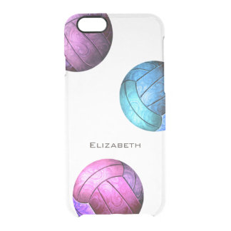 Coque iPhone 6/6S filles pourpres roses de volleyball de turquoise
