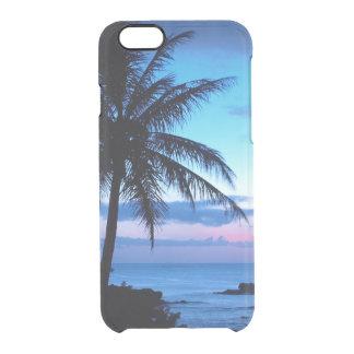 Coque iPhone 6/6S Photo bleue de coucher du soleil d'île de plage de