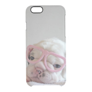 Coque iPhone 6/6S Verres blancs de petit animal de bouledogue