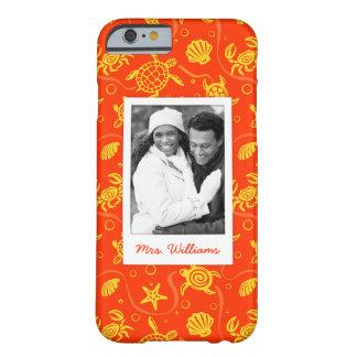 Coque iPhone 6 Barely There Ajoutez votre motif orange de plage de la photo  