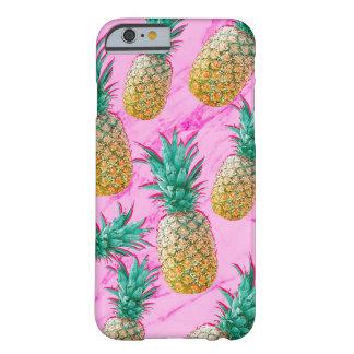 Coque iPhone 6 Barely There Ananas tropicaux et coloré moderne de marbre rose
