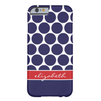 Coque iPhone 6 Barely There Bleu marine et grand monogramme rouge de coutume