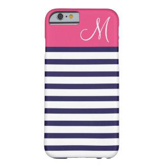 Coque iPhone 6 Barely There Bleu marine et monogramme de très bon goût rose de